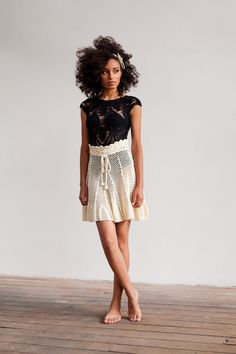 This **Helen Rödel** Leaf Knit Skirt is rendered in sheer crochet knit and features a high waist and A-line mini hemline. Crochet Skirts, Knit Skirt, Crochet Clothes, Dress Skirt, Lace Skirt, Crochet Top, Boho Swim Suits, Make Your Own Clothes, Knit Fashion