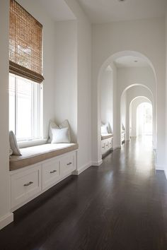 Hallway with Window seats - Respectful Design, Dallas, TX