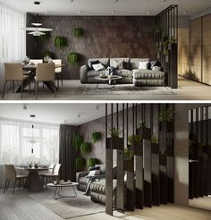 Have Designed A Contemporary Interior For An Apartment In Moscow A partial screen that's decorated with plants and a wood accent wall define the living room in this modern apartment. Additional plants hanging from the wall add a touch of nature. Living Room Modern, Living Room Interior, Living Rooms, Living Walls, Living Room With Plants, Living Room Wall Designs, Interior Livingroom, Living Room Partition, Partition Walls
