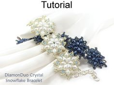 DiamonDuo Crystal Snowflake Winter Holiday Braceket wutg Two Hole Beads Jewelry Making Pattern Tutorial by Simple Bead Patterns | Simple Bead Patterns
