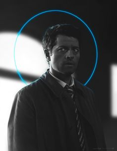 Castiel by euclase - Black and white study, drawn in PS. Screencaps for reference.