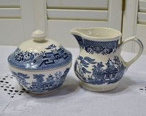 Churchill Blue Willow Sugar Bowl and Creamer Set Blue and White Asian Design England Vintage Coffee Tea Panchosporch