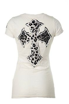 Velvet Stone Ladies White w/ Leopard Cross Short Sleeve Burnout Tee