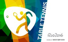 Bright Rio 2016 design featuring the official table tennis pictogram. Design includes Rio 2016 logo at the left side and it also says table tennis in big capita