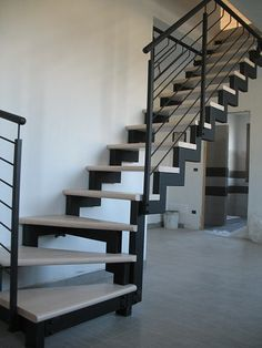 at Channels and angles: the manufacture of stair framework Steel Stairs, Loft Stairs, House Stairs, Small Space Staircase, Modern Staircase, Railing Design, Staircase Design, Escalier Design, Floating Stairs