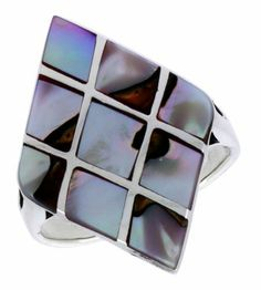 """Sterling Silver Diamond-shaped Shell Ring, w/Colorful Mother of Pearl Inlay, 1 1/8"""" (29mm) wide, size 8 Sabrina Silver. $31.50"""