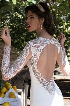 berta bridal 2015 beautiful illusion long sleeve wedding dress guipure lace bodice high neck close up back view