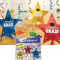 Add a splash of color to your graduation party decor with this Graduation Table Decoration Kit!