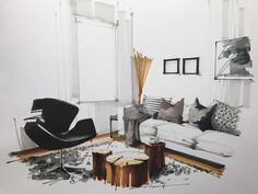 The black chair is the main focal point as it contrast the white or neutral colors of the room. The log coffee table adds color contrast as well as conceptual as it's so earthy and organic versus the modern, minimalism of the rest of the room.