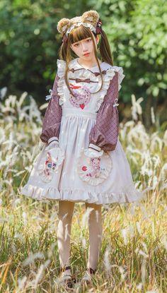 Morning Glory -Honey Bear- Sweet Lolita Apron