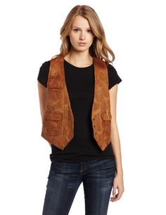 French Connection Women's Abby Leather Vest  $38.72 FREE Super Saver Shipping & Free Returns  100% Leather  Dry Clean Only  Press stud fastenings at front  All over pin tuck and stitch detail  Made in India