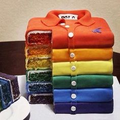 This is a rainbow shirt-cake. coolest rainbow cake I've seen yet. Crazy Cakes, Fancy Cakes, Cute Cakes, Pretty Cakes, Yummy Cakes, Beautiful Cakes, Amazing Cakes, Beautiful Desserts, Unique Cakes