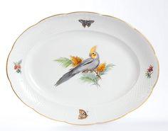 Platte,oval, Vogel- und Insektenmalerei, exotisch, bunt, Goldrand, 35x27 cm