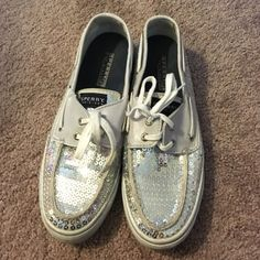 Sperry top spiders In great condition! Worn about 4-5 times. Silver sequence Sperry Top-Sider Shoes