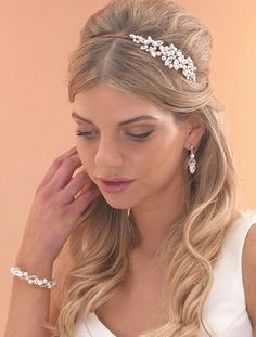 Vintage Style Bridal Headband / Side Comb with Diamante & Pearl Star Design by Arianna Tiaras