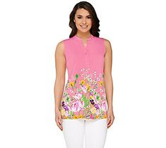 Susan Graver Liquid Knit Floral Printed Button Front Sleeveless Top