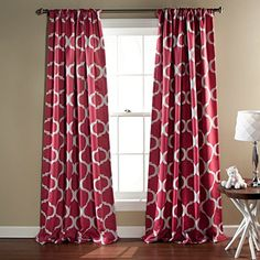 Lush Decor Geo Blackout Window Curtain 84 by 52Inch Pink Set of 2