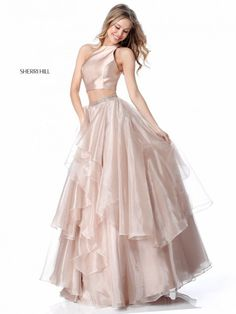 74d06cc969 Size 0 Nude - Style 51960 from Sherri Hill is a two piece shimmering prom  gown. French Novelty