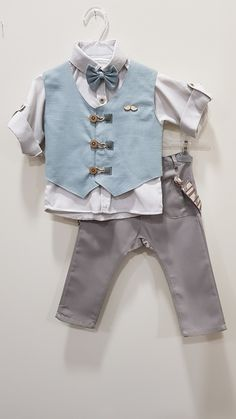 Toddler Vest, Toddler Boy Outfits, Kids Outfits, Waistcoat Men, Little Boy Fashion, Boys Suits, Boys Wear, Baby Wearing, Kids Shirts