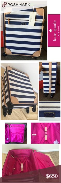 Kate Spade Carry On Luggage ✈️NWT Kate Spade Carry On Luggage. White and navy blue strips with tan handles. The side handle still has the covering on it (see 2nd picture). 14L x 8W x 22H  3rd picture - bright pink interior with side pockets and middle straps.   4th picture - price tag and model picture for sizing.   Style: WKRU3755 Bon voyage  cm/navystr (402)  size u-u Retail $698 + tax    Superrrr cute  kate spade Bags Travel Bags