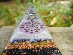 Orgonite Pyramid  SRI YANTRA  Blue Aventurine by 432oneness