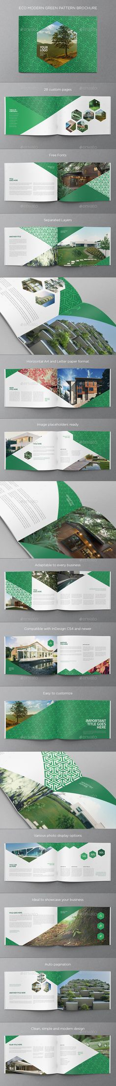 Eco Modern Green Pattern Brochure Template InDesign INDD. Download here: http://graphicriver.net/item/eco-modern-green-pattern-brochure/16298983?ref=ksioks