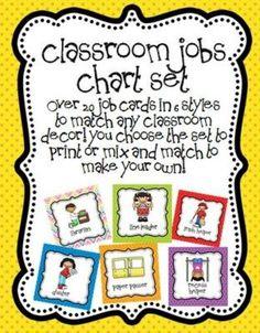 Classroom Job Chart Set / Preschool Items  Juxtapost
