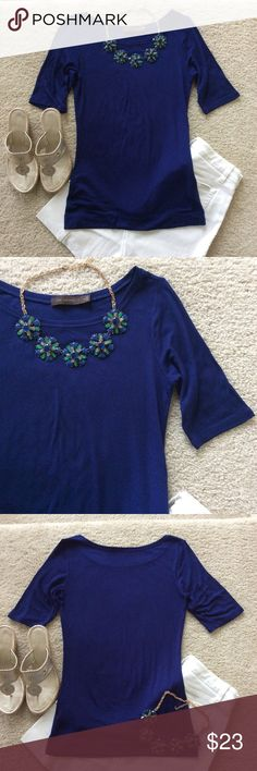 """The Limited Top The Limited Top. Gorgeous cobalt blue color. Great under jackets or alone with a great big statement necklace. Super soft. Sleeves are a bit above the elbow. Laying flat approx 26.5"""" shoulder to hem, approx 17"""" pit to pit. 95 viscose 5 spandex. Size M. Like new condition. #S14 The Limited Tops"""