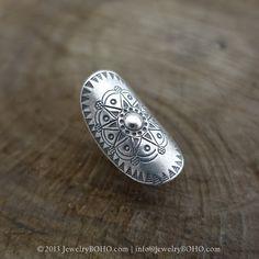 BOHO 925 Silver Ring-Gypsy Hippie Ring,Bohemian style,Statement Ring R101 JewelryBOHO,Handmade sterling silver BOHO Tribal printed ring
