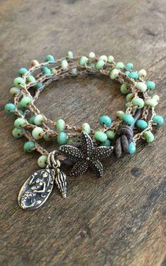 Crochet Knotted Starfish + Mermaid Multi Wrap Bracelet