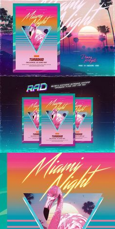 Miami Night 80's Synthwave Flyer. Flyer Templates