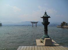 The floating torii of Miyajima with high marea