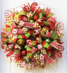 Christmas Wreaths for front door Deco Mesh by PinkBluebonnet