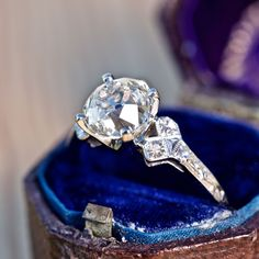 1920's 2 Carat Old European Cut Diamond Engagement Ring Ornate Platinum