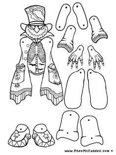 Pumpkin Head Puppet to Color, Cut Out, & Assemble Paper Puppets, Paper Toys, Halloween Activities, Halloween Crafts, Frankenstein, Coloring Books, Coloring Pages, Paper Doll Costume, Fun Crafts