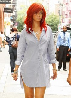 #Rihanna in a simple, #casual #striped button up #dress.