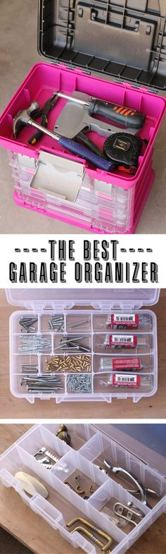 Such a great organizing hack: use a craft organizer to keep nuts, bolts and nails organized in the garage. She turned this into her very own tool box so she wouldn't have to share with her husband!