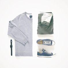 Shoes : @converse Pants: @urbanoutfitters Crew Neck: @jcrewmens Watch: