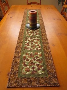 Quilted Table Runner Mountain Pine Cone by PatchworkMountain