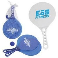"""This sturdy, plastic paddle and ball set is the perfect item to enjoy hours of fun in the sun or anywhere you please! Includes a convenient mesh carrying case. Choose from clear blue, or opaque white paddles.  12 3/4"""" H"""