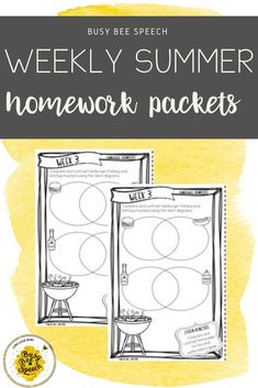Easy, NO PREP speech and language homework packets for summer!