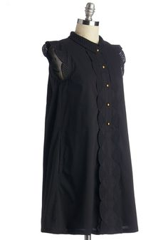 Letter Than Ever Dress. Strolling back from the mailbox in this ruffled shirtdress from Dear Creatures, youre happy as can be. #black #modcloth