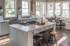 Silestone Pulsar Quartz Kitchen Countertops with Gray Cabinets Traditional beach style kitchen moder Quartz Kitchen Countertops, Grey Kitchen Cabinets, White Cabinets, Light Grey Kitchens, Cool Kitchens, Kitchen Island With Cooktop, Open Kitchen Layouts, Best Kitchen Lighting, Kitchen Wall Tiles