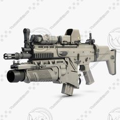 3ds combat assault rifle fn scar - Combat Assault Rifle FN SCAR L with Devices... by shiva3d