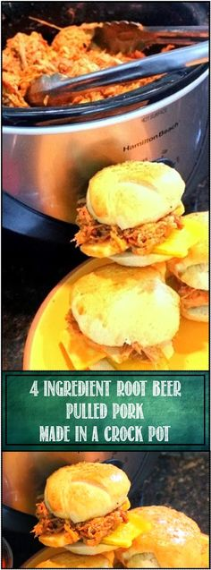 4 Ingredient ROOT BEER PULLED PORK in a Slow Cooker - Church PotLuck Main Course and SOOOO Easy... Just 4 ingredients and you have a flavorful 4-5 pounds of Sweet yet spicy Pulled pork for sandwiches to feed an army, your neighbors for a neighborhood BYODish party, family and friends or for a BIG Church PotLuck. And Oh So Easy. really just 4 ingredients!