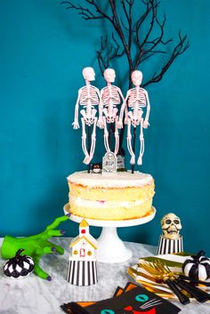 A Halloween classic that I've come to love is Disney's Skeleton Dance So much so that I made a Skeleton Dance Cake Topper using Krylon Spray Paint and some items from the clearance section at my local craft store. #skeletondance #halloween #caketopper Halloween Cupcakes Decoration, Christmas Decorations, Halloween Movies, Halloween Crafts, Dance Cakes, Krylon Spray Paint, Skeleton Dance, Drip Painting, Cupcake Toppers