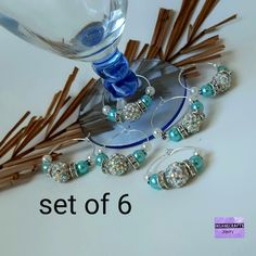 Set of 6 aqua wine glass charms Etsy Handmade, Handmade Jewelry, 17th Birthday Gifts, Hen Party Favours, Bachelor Party Gifts, Sweet 16 Gifts, Bridal Table, Guest Gifts, Glass Candy