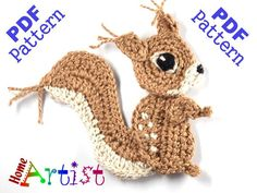 Squirrel Crochet Applique Pattern  This is an -INSTANT DOWNLOAD- pattern of a…