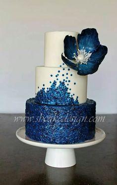 Royal blue sequin cake