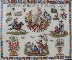 Perroquets Embroidery Sampler, Cross Stitch Embroidery, Cross Stitch Samplers, Cross Stitching, Art Fil, Vintage Cross Stitches, Thread Art, Antique Quilts, Textile Art
